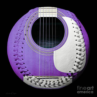 Purple Guitar Baseball White Laces Square Print by Andee Design