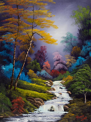 Sawtooth Mountain Art Painting - Forest Fantasy by C Steele