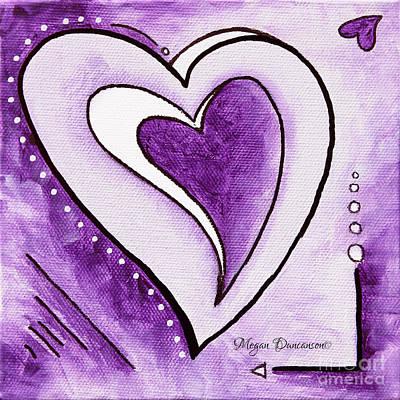 Color Block Painting - Purple Heart Love Painting Pop Art Blessed By Megan Duncanson by Megan Duncanson