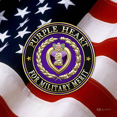 Purple Heart Over American Flag Print by Serge Averbukh