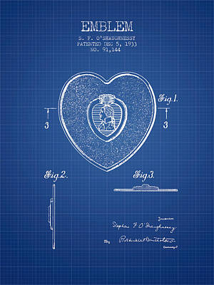 Medallion Drawing - Purple Heart Patent From 1933 - Blueprint by Aged Pixel