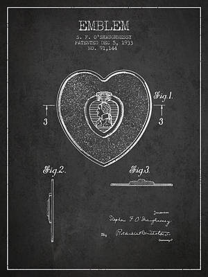Medallion Drawing - Purple Heart Patent From 1933 - Charcoal by Aged Pixel