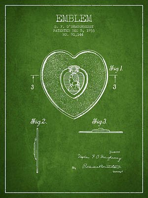 Medallion Drawing - Purple Heart Patent From 1933 - Green by Aged Pixel