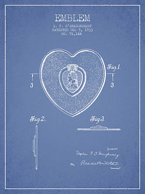 Medallion Drawing - Purple Heart Patent From 1933 - Light Blue by Aged Pixel