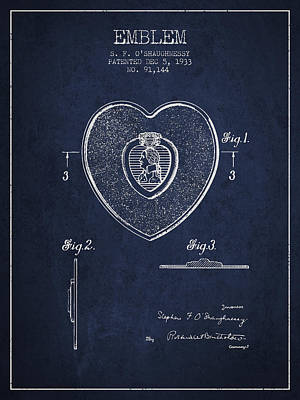 Medallion Drawing - Purple Heart Patent From 1933 - Navy Blue by Aged Pixel