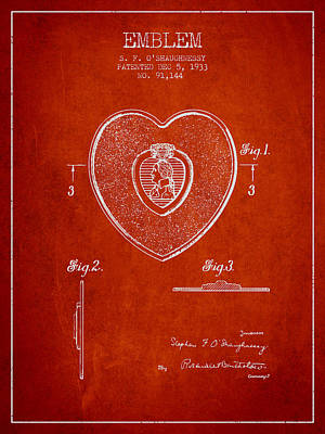 Purple Heart Patent From 1933 - Red Print by Aged Pixel