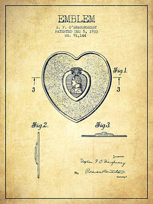 Medallion Drawing - Purple Heart Patent From 1933 - Vintage by Aged Pixel