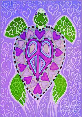 Turtle Drawing - Purple Heart Turtle by Nick Gustafson