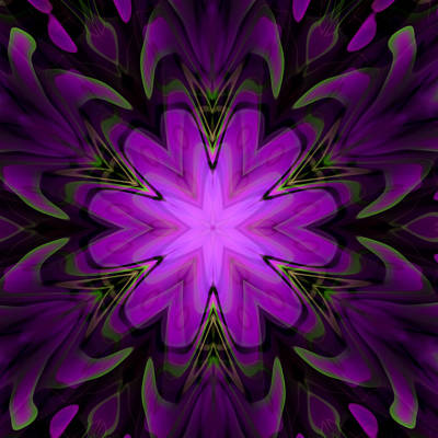 Fraktal Digital Art - Purple Kaleidoscopic Flower by Hakon Soreide