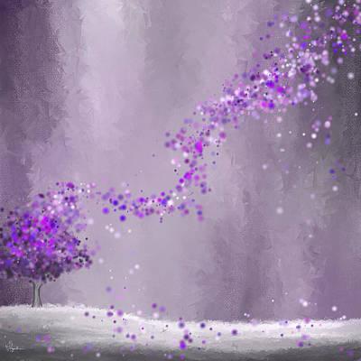 Purple Landscape- Purple Impressionist Painting Print by Lourry Legarde