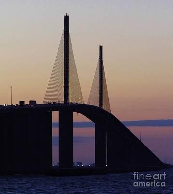 Purple Morning At The Skyway Bridge Print by D Hackett