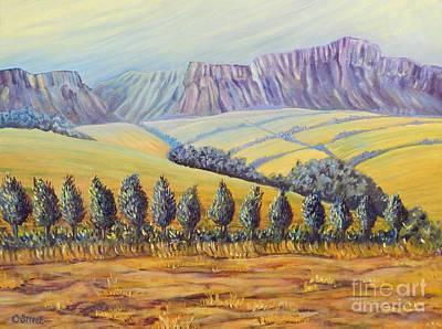 Carolinestreet Painting - Purple Mountains Yellow Fields by Caroline Street