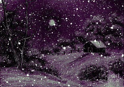 Purple Night Full Moon Print by Barbara Griffin