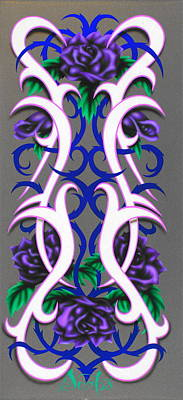 Pinstripes Painting - Purple Passion by Augustine Mattei