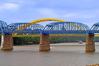 Urban Photograph - Purple People Bridge And Big Mac Bridge - Ohio River Cincinnati by Christine Till