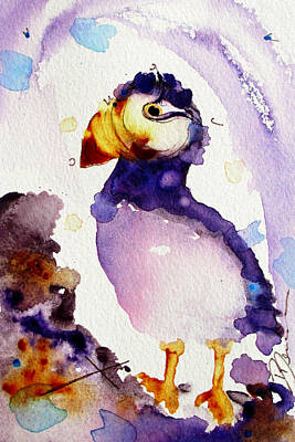 Puffin Painting - Purple Puffin by Dawn Derman