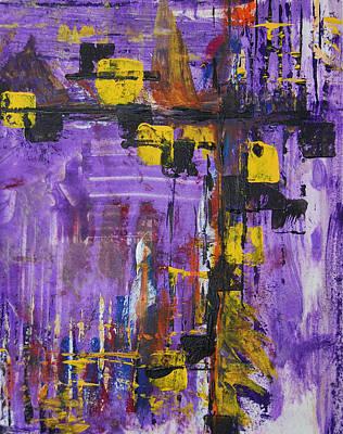 Printmaking Painting - Purple Rain by Alexandra Jordankova