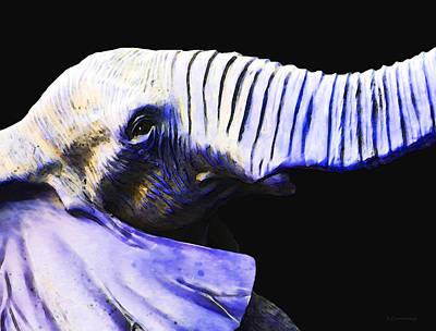 Purple Rein - Vibrant Elephant Head Shot Art Print by Sharon Cummings