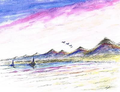 Flying Seagull Mixed Media - Purple Skies by Teresa White