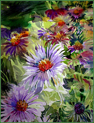 Aster Drawing - Purple Stem Asters by Mindy Newman