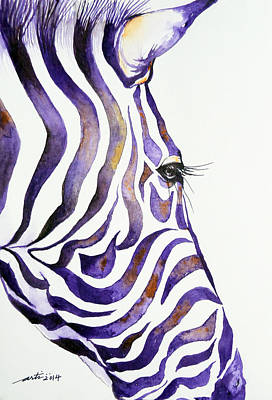 Zebra Painting - Purple Stripes 1 by Arti Chauhan