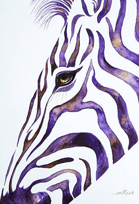Zebra Painting - Purple Stripes 2 by Arti Chauhan