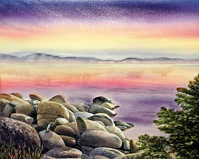 Ladnscape Painting - Purple Sunset At The Lake by Irina Sztukowski
