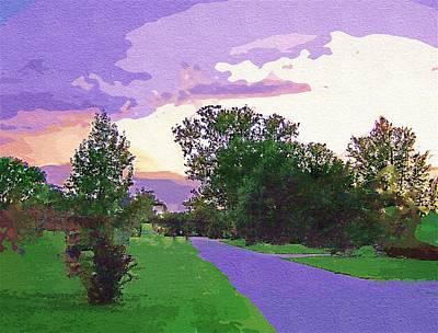 Digitally Manipulated Mixed Media - Purple Sunset In Goache by Skyler Tipton