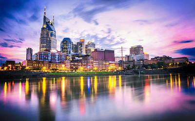 Downtown Nashville Photograph - Purple Sunset by Lucas Foley
