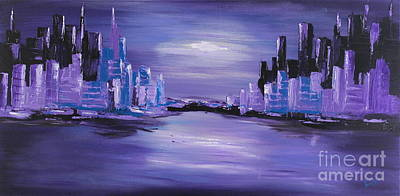 The Downtown Gallery Painting - Purple Town by Preethi Mathialagan