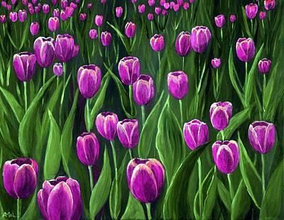 Print Painting - Purple Tulip Field by Anastasiya Malakhova