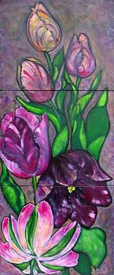 Tulip Festival Painting - Purple Tulip Triptych by Jill Alexander