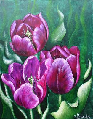 Tulip Festival Painting - Purple Tulips by Jill Alexander
