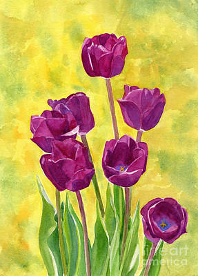 Tulip Art Painting - Purple Tulips With Textured Background by Sharon Freeman