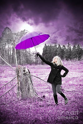 Black Boots Photograph - Purple Umbrella by Jt PhotoDesign
