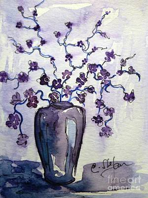 Still Life Painting - Purple Vase With Flowers by Cristina Stefan