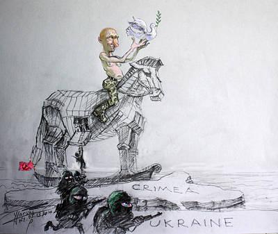 Dove Mixed Media - Putin's Surprising Crimea Visit by Ylli Haruni