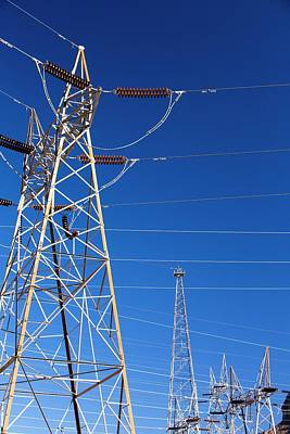 Pylons Taking Hydro Electricity Print by Ashley Cooper