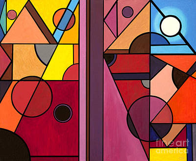 Cubism Painting - Pyramids At Night by Christopher Page