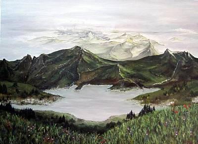 Flowerfield Painting - Pyreenes by Susan Art