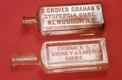 Quack Medicine Bottles Print by Science Photo Library
