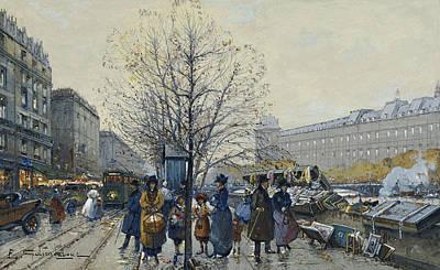 Edge Painting - Quai Malaquais Paris by Eugene Galien-Laloue
