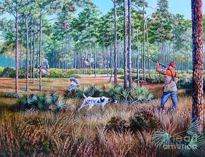 Florida Landscape Painting - Quail Hunting...a Southern Tradition. by Daniel Butler