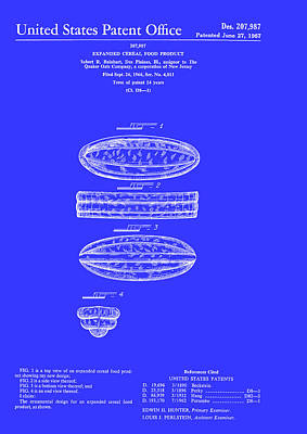 Quaker Oats Cereal Food Patent 1967 Print by Mountain Dreams
