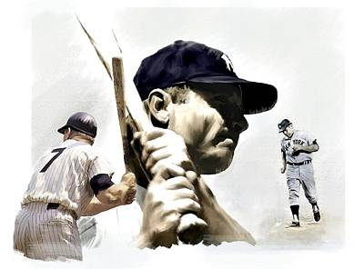 Athletes Drawing - Quality Of Greatness Mickey Mantle by Iconic Images Art Gallery David Pucciarelli