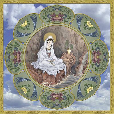 Mandala Digital Art - Quan Yin Celestial Blessings by Nadean OBrien