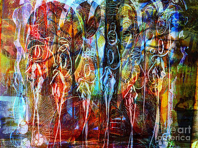 Women Together Mixed Media - Quand Les Reines Parlent - When Queens Speak by Fania Simon