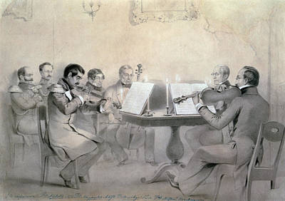 Music Recital Photograph - Quartet Of The Composer Count A. F. Lvov, 1840 Pencil On Paper by R. Rorbach