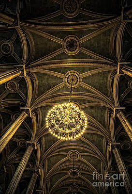 Quebec City Canada Ornate Grand Hall Or Church Ceiling Print by Edward Fielding