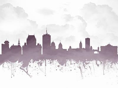 Quebec City Skyline - Purple 03 Print by Aged Pixel